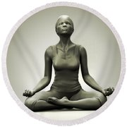 Meditation Pose Round Beach Towel