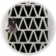 Old Doll Round Beach Towel by Joana Kruse