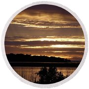 Outer Banks North Carolina Sunset Round Beach Towel