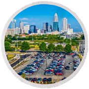Skyline Of Uptown Charlotte North Carolina Round Beach Towel