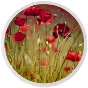Summer Poppy Round Beach Towel