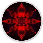 1107 - Mandala Red   Round Beach Towel