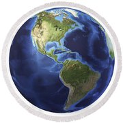 3d Rendering Of Planet Earth, Centered Round Beach Towel