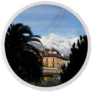 Alpine Village Round Beach Towel