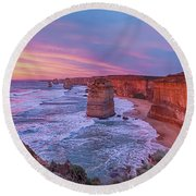 12 Apostles At Sunset Pano Round Beach Towel