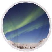 Aurora Borealis With Moonlight Round Beach Towel