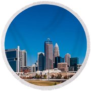 Charlotte City Skyline Autumn Season Round Beach Towel