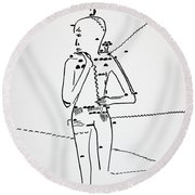 Dinka Lady - South Sudan Round Beach Towel