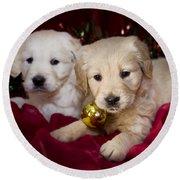 Festive Puppies Round Beach Towel by Angel  Tarantella