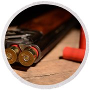 12 Gauge Over And Under Shotgun Round Beach Towel