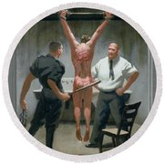 12. Jesus Is Beaten / From The Passion Of Christ - A Gay Vision Round Beach Towel