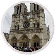 Notre Dame In Paris France Round Beach Towel