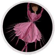12 Pink Ballerina Round Beach Towel