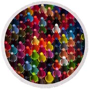 Rows Of Multicolored Crayons  Round Beach Towel