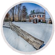 Snow Around Billy Graham Library After Winter Storm Round Beach Towel
