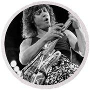 Guitarist Eddie Van Halen Round Beach Towel