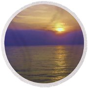 View Of Sunset Through Clouds Round Beach Towel