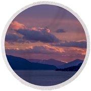 121205a-154 A Sunnyside Sunrise Round Beach Towel