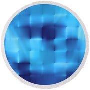 Blue Squares Round Beach Towel