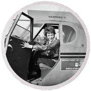 Amelia Earhart (1897-1937) Round Beach Towel