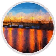 Bridge Of Lions St Augustine Florida Painted  Round Beach Towel