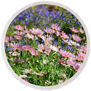 Background Of Colorful Flowers Round Beach Towel