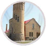 Lighthouse - Mackinac Point Michigan Round Beach Towel