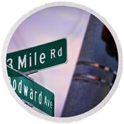 13 Mile Road And Woodward Avenue Round Beach Towel