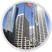 Minneapolis Skyscrapers Round Beach Towel