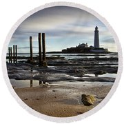 St Marys Lighthouse Round Beach Towel
