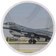 Turkish Air Force F-16 During Exercise Round Beach Towel