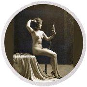 Vintage Nude Postcard Image Round Beach Towel