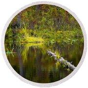 131005b-052 Forest Marsh 2 Round Beach Towel