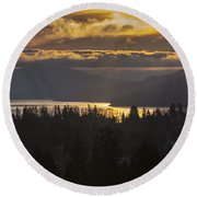 131127a-18 Sandpoint Winter Sunrise Round Beach Towel