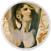 Ancient Cyprus Map And Aphrodite Round Beach Towel