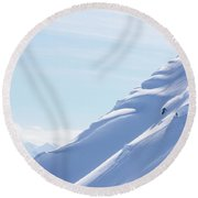 Backcountry Snowboarder Round Beach Towel