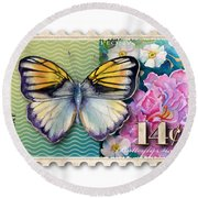 14 Cent Butterfly Stamp Round Beach Towel