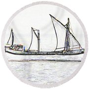 Fishing Vessel In The Arabian Sea Round Beach Towel