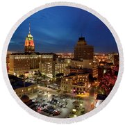High Angle View Of Buildings Lit Round Beach Towel
