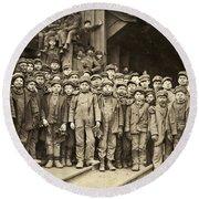 Hine Child Labor, 1911 Round Beach Towel