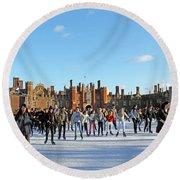 Ice Skating At Hampton Court Palace Ice Rink England Uk Round Beach Towel