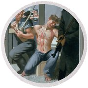 14. Jesus Is Nailed To The Cross / From The Passion Of Christ - A Gay Vision Round Beach Towel