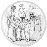 Scene From Pride And Prejudice By Jane Austen Round Beach Towel