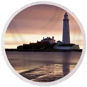 St Marys Lighthouse Round Beach Towel