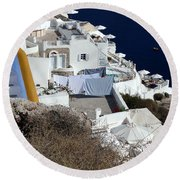 Views Of Santorini Greece Round Beach Towel