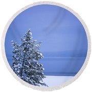 140303a-12 Winter Blues Round Beach Towel