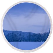 140303a-43 The Bull River Valley In Winter Round Beach Towel