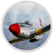 A P-51d Mustang In Flight Round Beach Towel