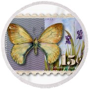 15 Cent Butterfly Stamp Round Beach Towel