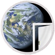 Door To New World Round Beach Towel
